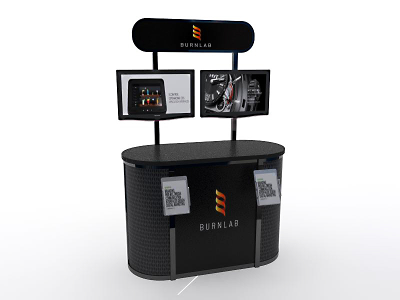 MOD-1231 Trade Show Workstation / Kiosk -- Black Powder-coat Version