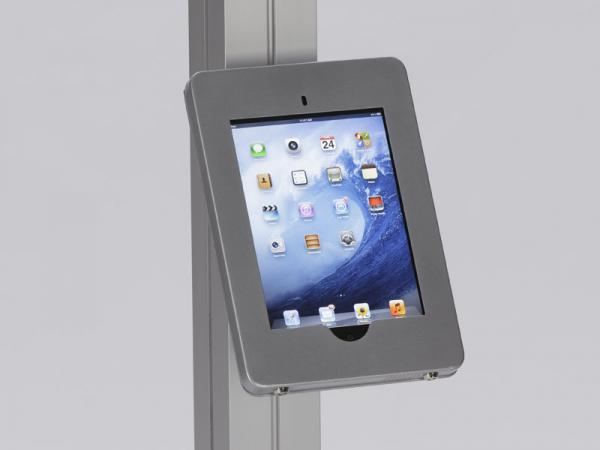 MOD-1317 Locking iPad Clamshell with Extrusion Attachment -- Silver