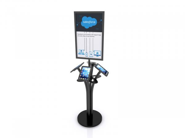 MOD-1347M Portable iPad Kiosk with Signholder-- Black -- Laminated Base with Wire Management